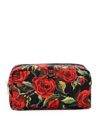 Dolce & Gabbana Roses Nylon Stampato Cosmetics Bag