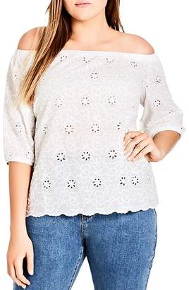 City Chic Plus Eyelet Off-the-Shoulder Top