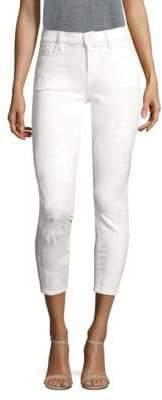 J Brand 835 Painted Floral Mid-Rise Capri Jeans