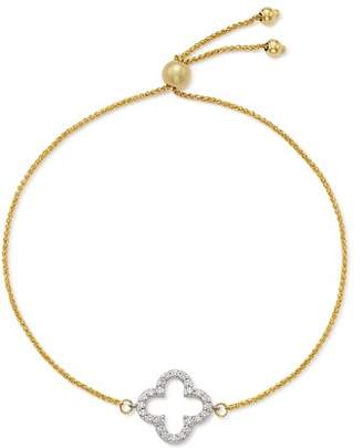 Bloomingdale's Diamond Clover Bolo Bracelet in 14K White & Yellow Gold, 0.20 ct. t.w. - 100% Exclusive