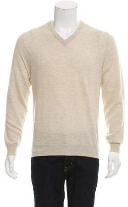 Maison Margiela Wool Leather-Trimmed Sweater