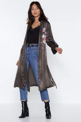 Nasty Gal What's Growing On Embroidered Duster Coat
