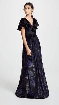 Marchesa Flutter Sleeve V Neck Velvet Burnout Gown
