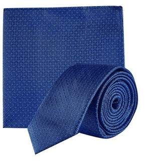 9a061edff23d Burton Mens Blue Texture Geometric Tie And Matching Pocket Square Set