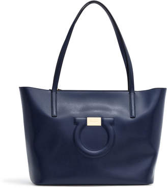 Salvatore Ferragamo Gancio City Dark Blue Leather Tote Bag