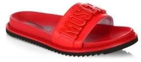 Moschino Logo Slide Leather Sandals