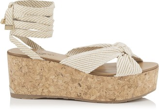 Jimmy Choo NORAH 70 Natural Gold Cotton and Lurex Wedge Sandals