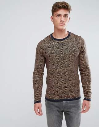 Solid Sweater In Diamond Pattern