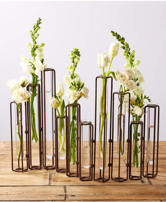 Twos Company Lavoisier Set of 10 Hinged Flower Vases with Antiqued Rusted Finish