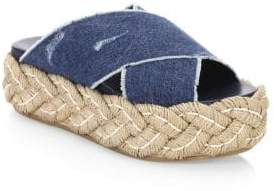 Miu Miu Crisscross Denim Espadrille Sandals