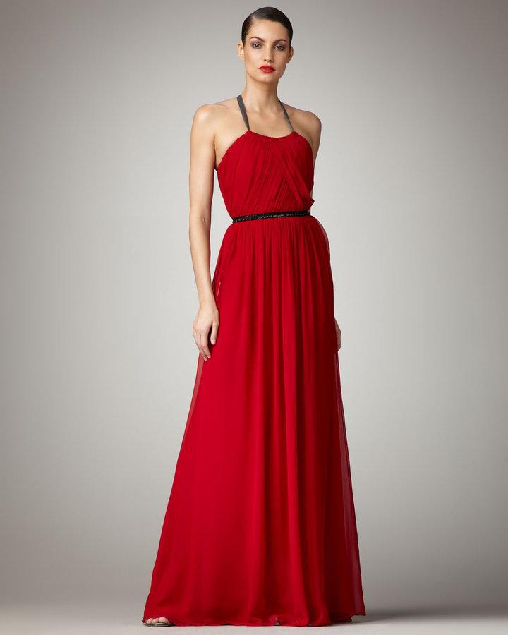 Vera Wang Lavender Halter Chiffon Gown