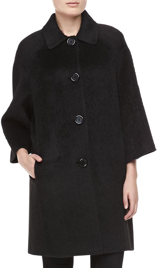 Michael Kors Brushed Wool-Alpaca Coat, Black