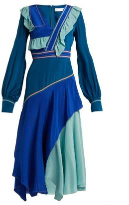 Peter Pilotto Ruffled Silk Crepe De Chine Dress - Womens - Blue