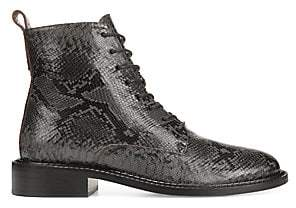 Vince Women's Cabria Snake-Embossed Leather Combat Boots