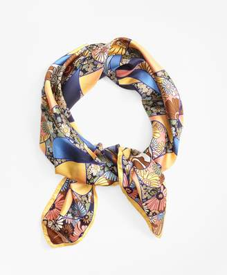 Brooks Brothers Kaleidoscope Floral-Print Silk Square Scarf