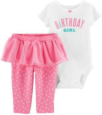 "Carter's Baby Girl Birthday Girl"" Bodysuit & Heart Tutu Pants Set"