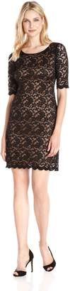 Connected Apparel Women's Elbow Sleeve Lace Dress, Black/Gold