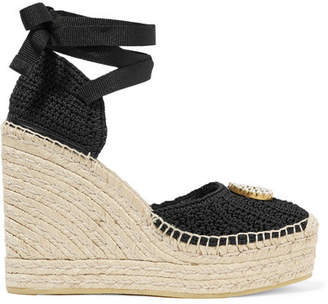 Gucci Lilibeth Logo-embellished Crocheted Cotton Wedge Espadrilles - Black