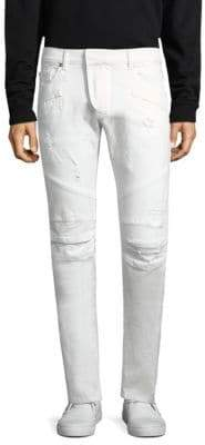 Pierre Balmain Distressed Biker Slim Fit Jeans