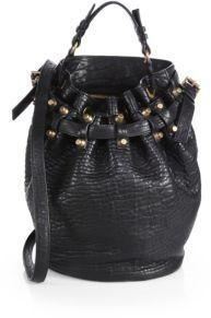 Diego Pebbled Leather Brasstone Hardware Bucket Bag $875 thestylecure.com