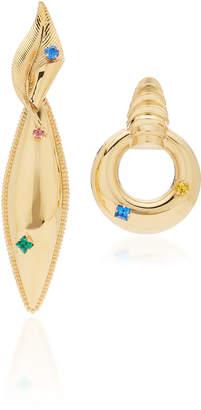 Rodarte Gold Modern Earrings With Swarovski Crystals