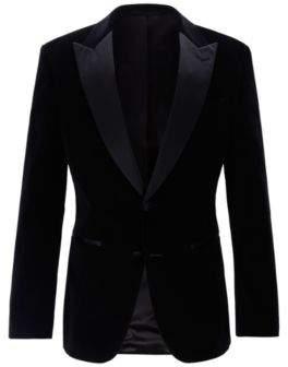 Slim-fit dinner jacket in velvet with silk trims