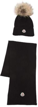 Moncler Fur Trim Wool Knit Hat & Scarf