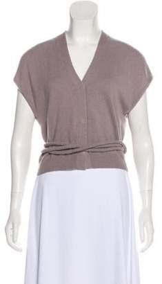 Brunello Cucinelli Sleeveless Cashmere Cardigan Purple Sleeveless Cashmere Cardigan
