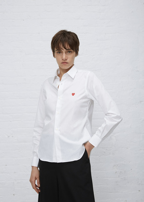 Comme des Garcons PLAY white small heart shirt $235 thestylecure.com
