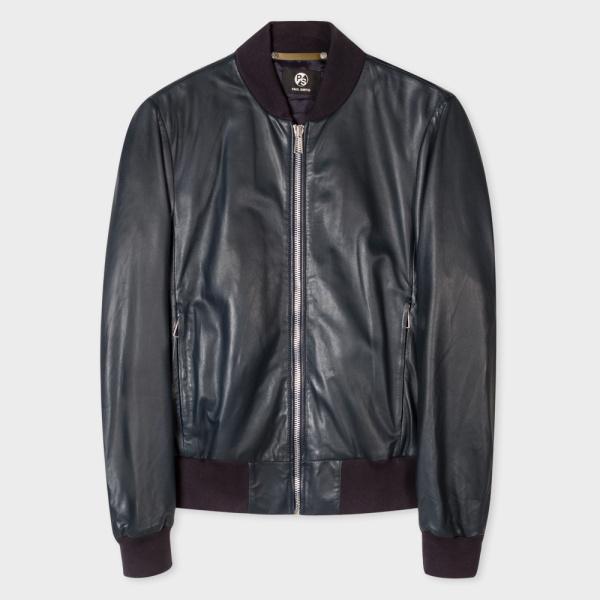 Paul SmithMen's Navy Leather Bomber Jacket