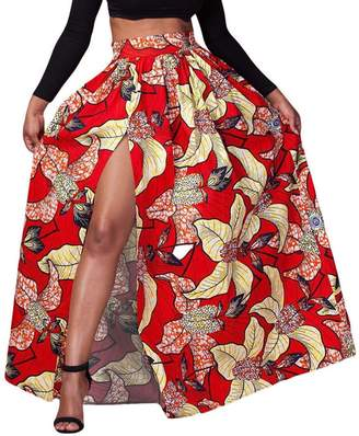 FEOYA Women's African Loose Dress Floral Printed Pleated Split Maxi Skirt High Waist A Line Dress Red Size 8-10