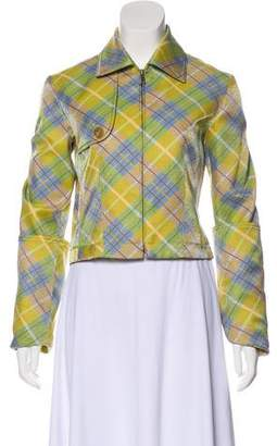 John Galliano Plaid Zip-Up Jacket
