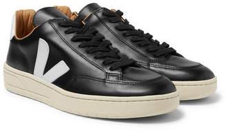 Veja V-12 Bastille Rubber-Trimmed Leather Sneakers