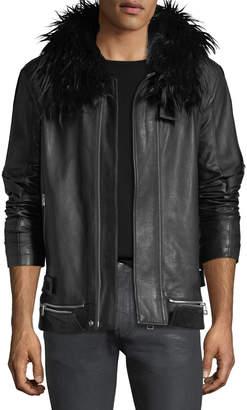 Helmut Lang Long Leather Zip-Front Coat