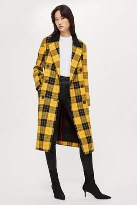 Topshop Womens Tall Tartan Coat