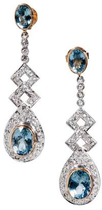18K Yellow Gold and Sterling Silver Aquamarine & Diamonds Earrings