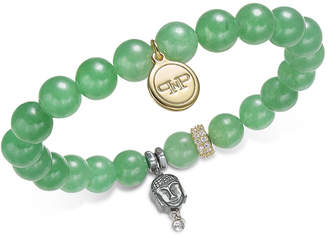 Paul & Pitu Naturally Two-Tone Pave, Buddha & Green Agate Beaded Stretch Bracelet