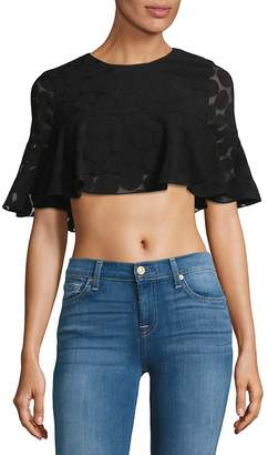 Cushnie et Ochs Women's Dotted Short-Sleeve Crop Top