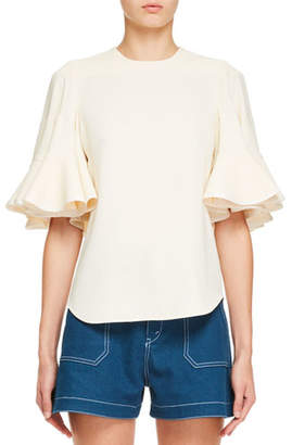 Chloé Bell-Sleeve Light Cady Crepe Blouse