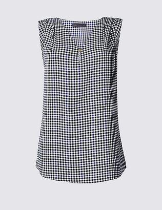 Marks and Spencer Checked V-Neck Shell Top