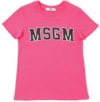 MSGM Logo Embroidered Cotton Jersey T-Shirt