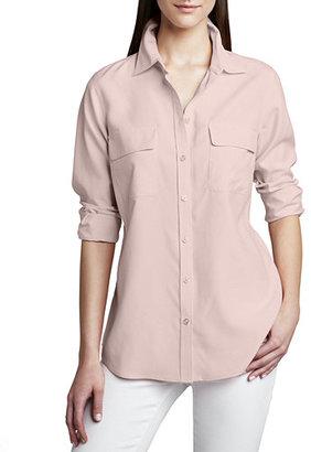 Go Silk Safari Long-Sleeve Silk Shirt, Plus Size $180 thestylecure.com