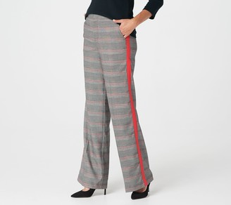 G.I.L.I. Got It Love It G.I.L.I. Petite Wide Leg Plaid Pants with Stripe Detail