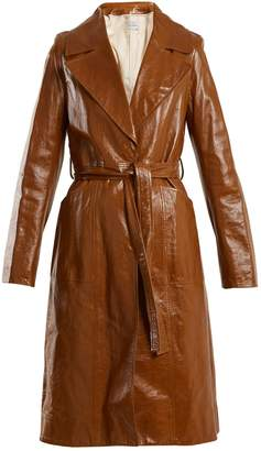 Yves Salomon Tie-waist patent-leather trench coat