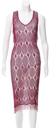 Clements Ribeiro Beaded Crochet Knit Dress