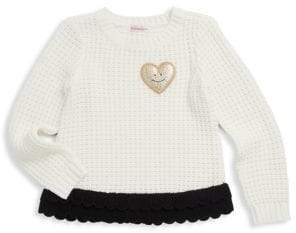 Design History Little Girl's Heart Patch Sweater