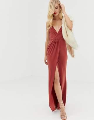 Asos DESIGN slinky wrap maxi dress