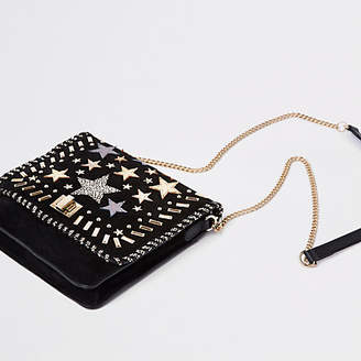 River Island Black leather star studded cross body bag