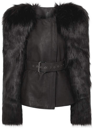 Belted Faux Fur And Leather Jacket - Black