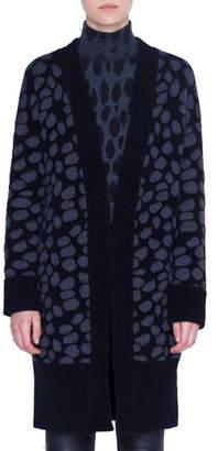 Akris Punto Animal Dot Jacquard Wool Blend Cardigan